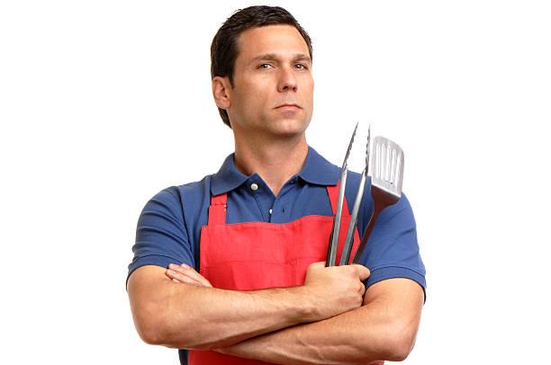barbeque grill männlicher chef isoliert auf weißem hintergrund - grillschürze stock-fotos und bilder