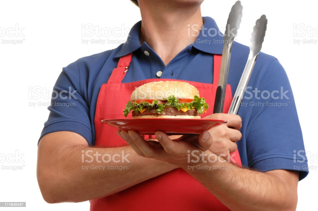 barbecue BBQ Male Chef Isolated on White Background royalty-free stock photo