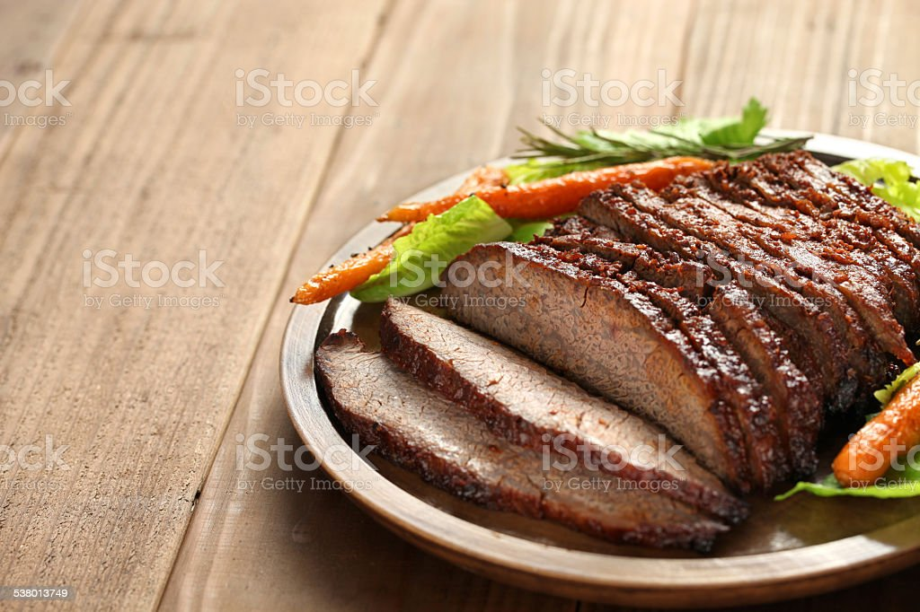 barbecue beef brisket with copy space stock photo