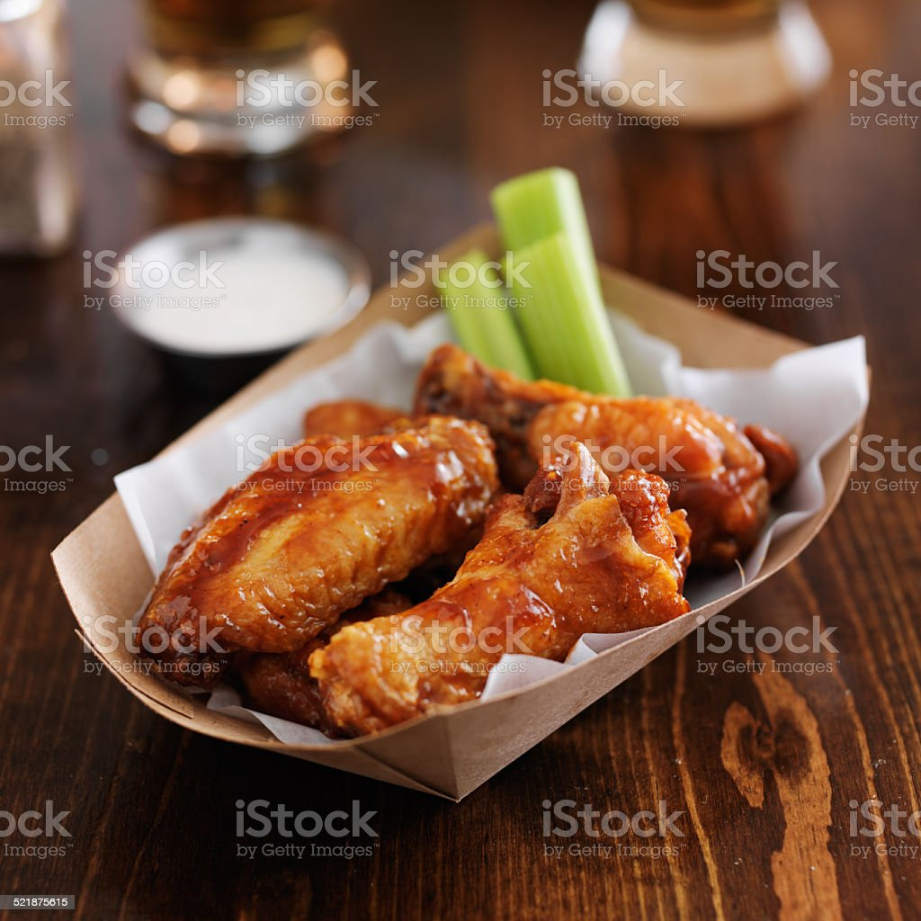 barbecue buffalo chicken wings stock photo