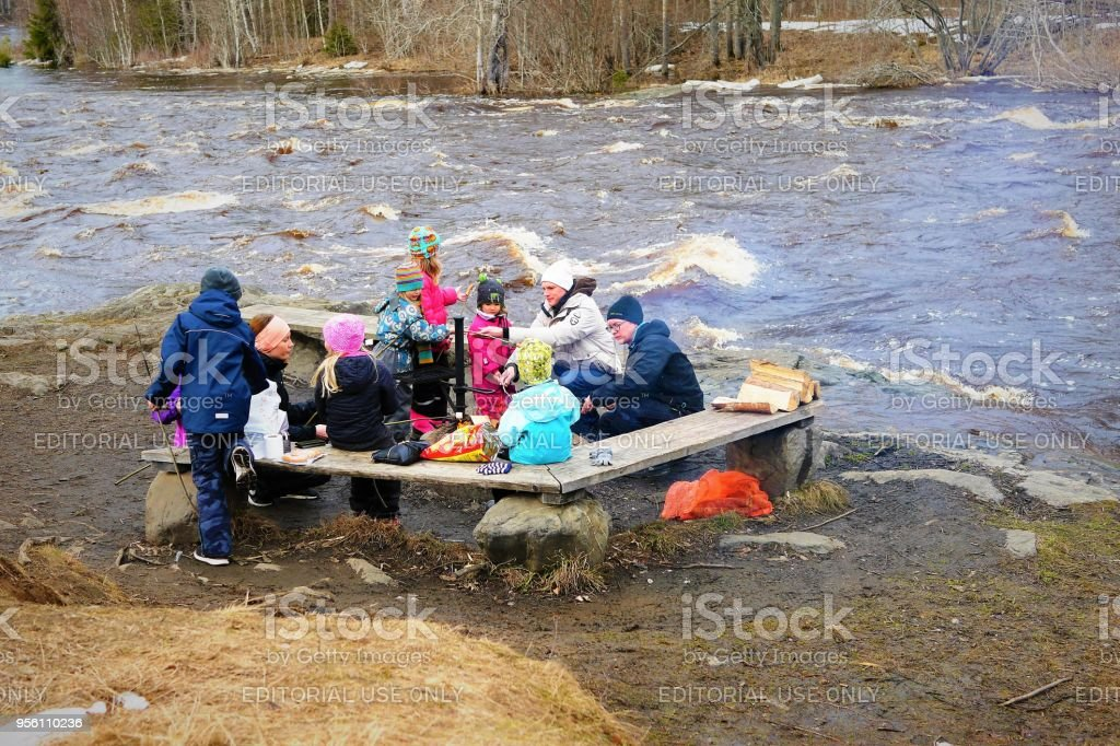 Barbecue by the flooding river stock photo