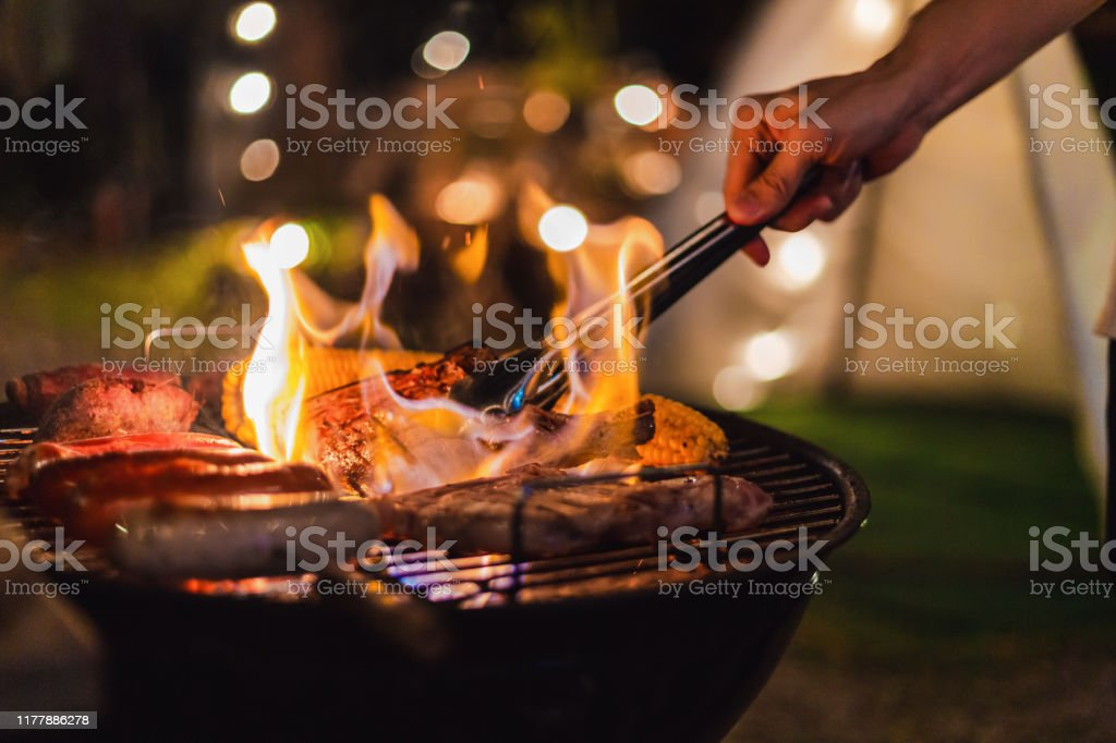 barbecue Camping - Royalty-free Achtergrond - Thema Stockfoto