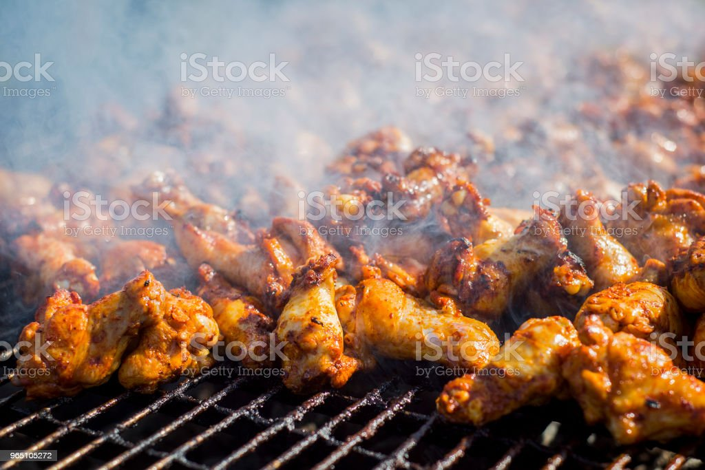 barbecue chicken on the grill with sauce royalty-free stock photo