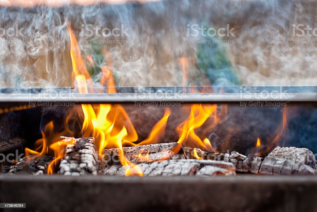 Barbecue Fire Grill close-up stock photo