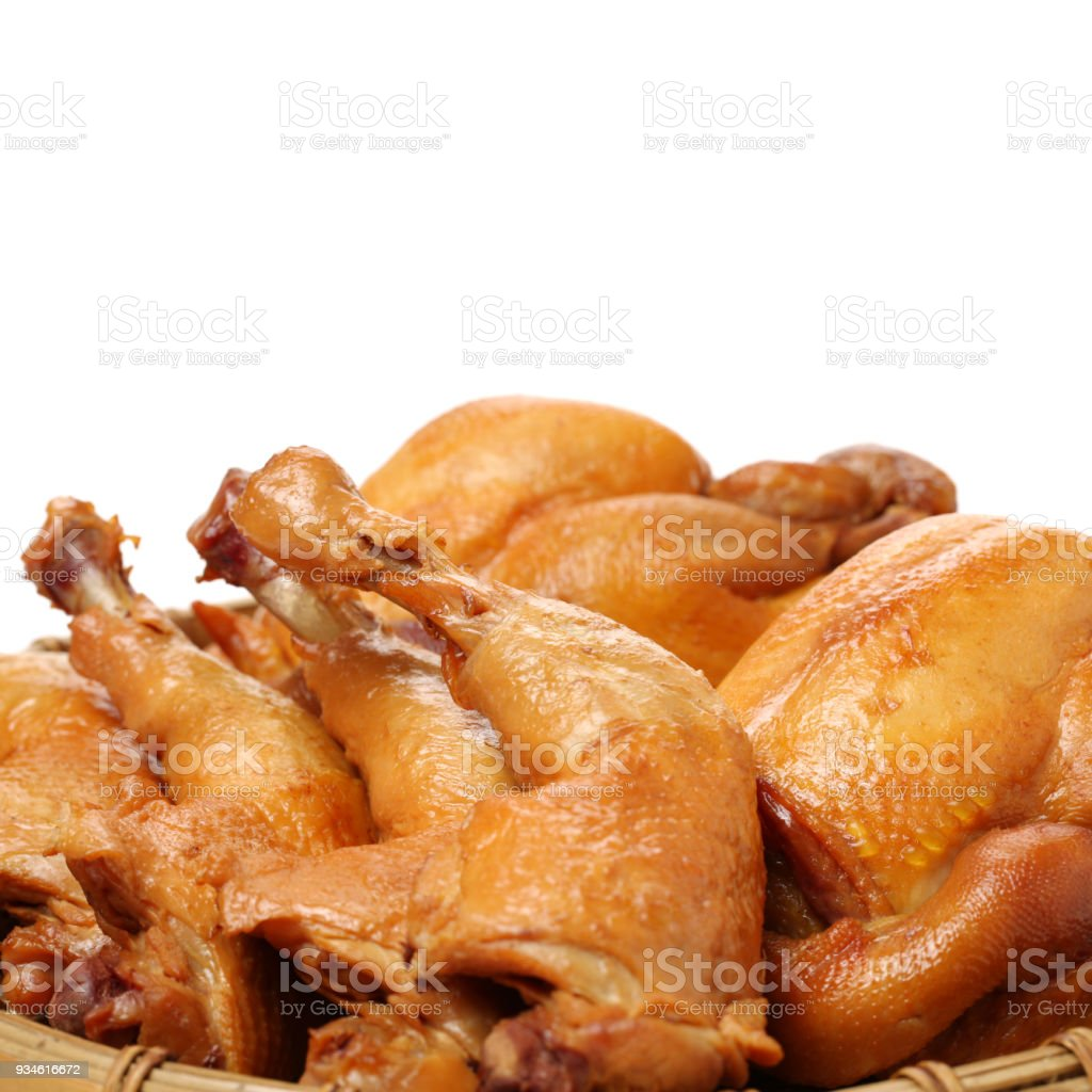 Barbecue Grill chicken thigh meat isolated with white background stock photo