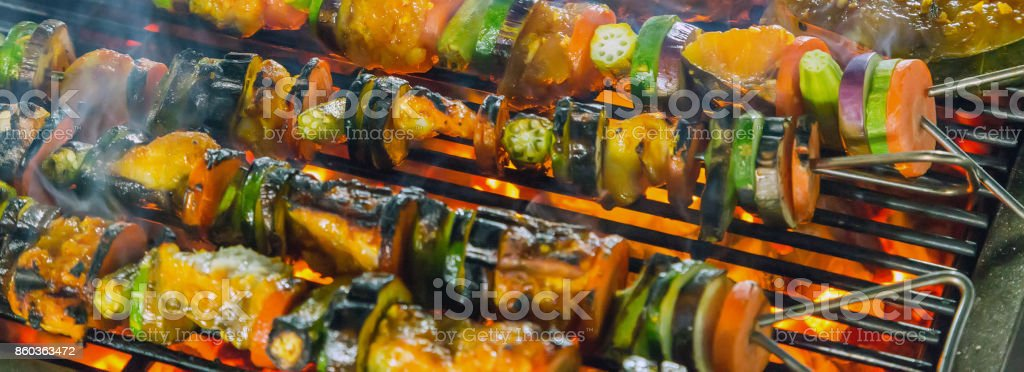 Barbecue Grill cooking seafood. stock photo