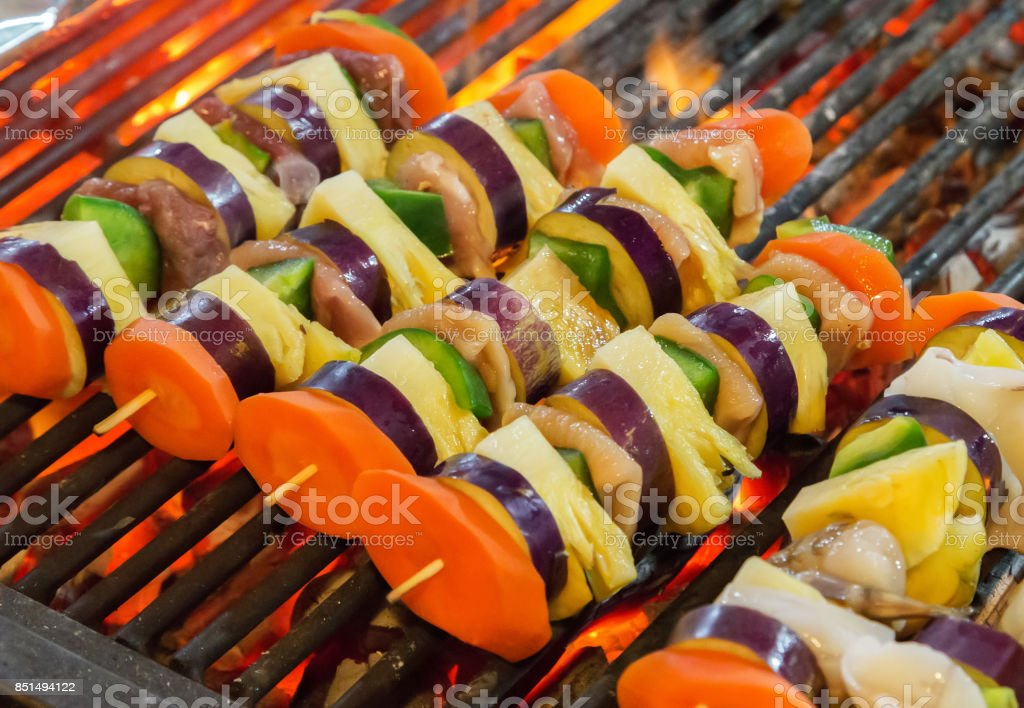 Barbecue Grill cooking vegetable. stock photo