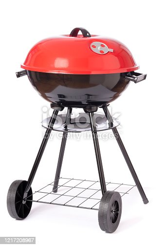 Red and Black Generic Barbecue Grill with Four Black Legs.