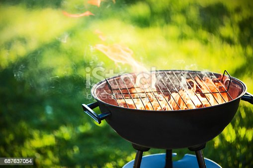 istock Barbecue grill with fire 687637054