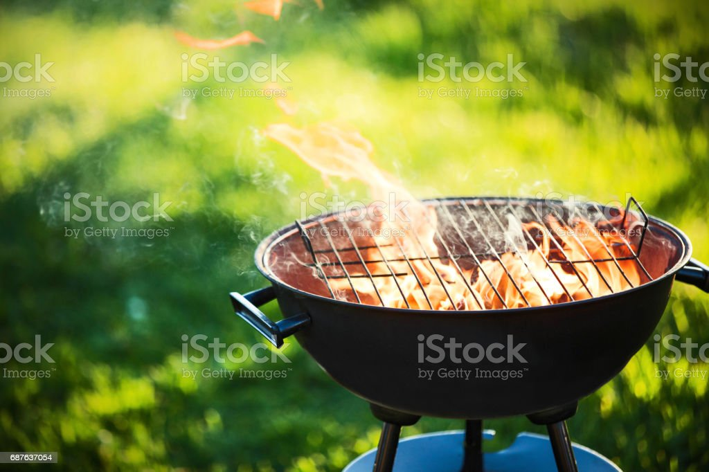 Barbecue grill with fire stock photo