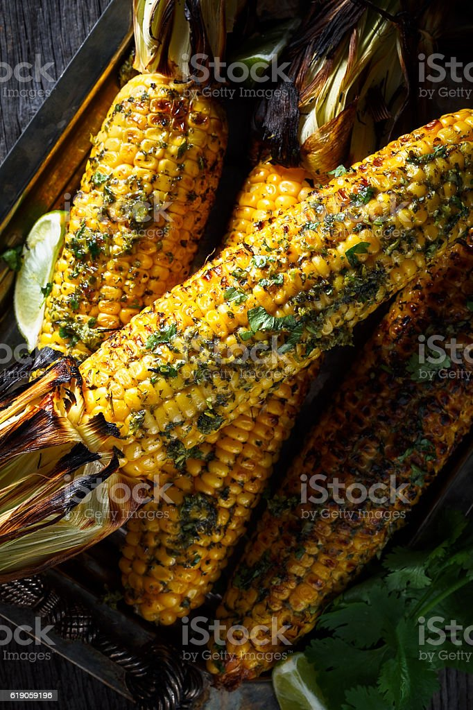 barbecue grilled corn stock photo