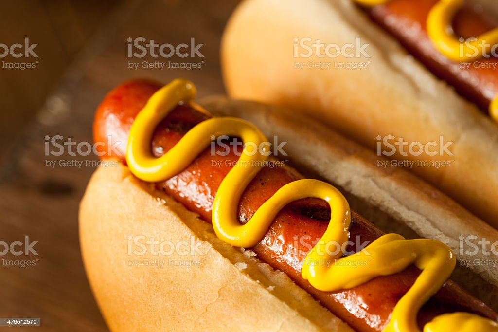 Barbecue Grilled Hot Dog Barbecue Grilled Hot Dog with Yellow Mustard 2015 Stock Photo