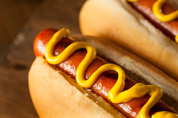 barbecue grilled hot dog - hot dog stock pictures, royalty-free photos & images