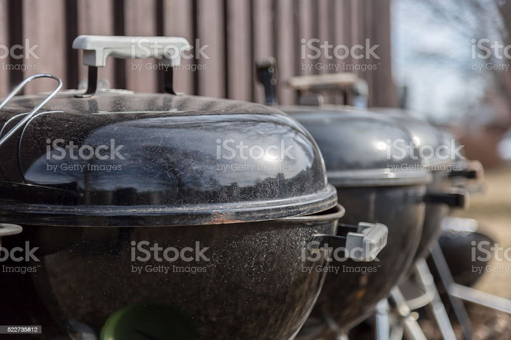 Barbecue Grills in a Row stock photo