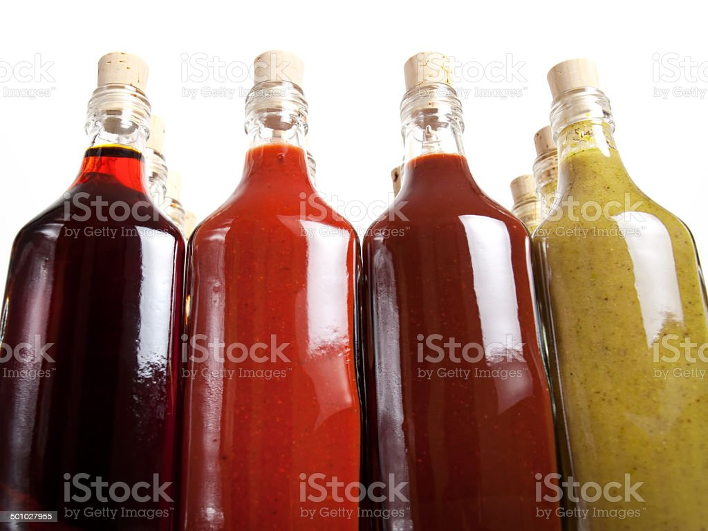 Barbecue hot sauces stock photo