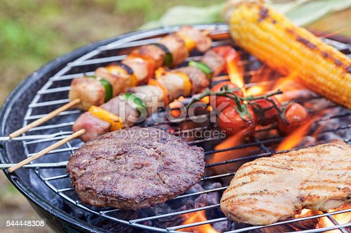 preparing various meat and vegetables on barbecue in the nature