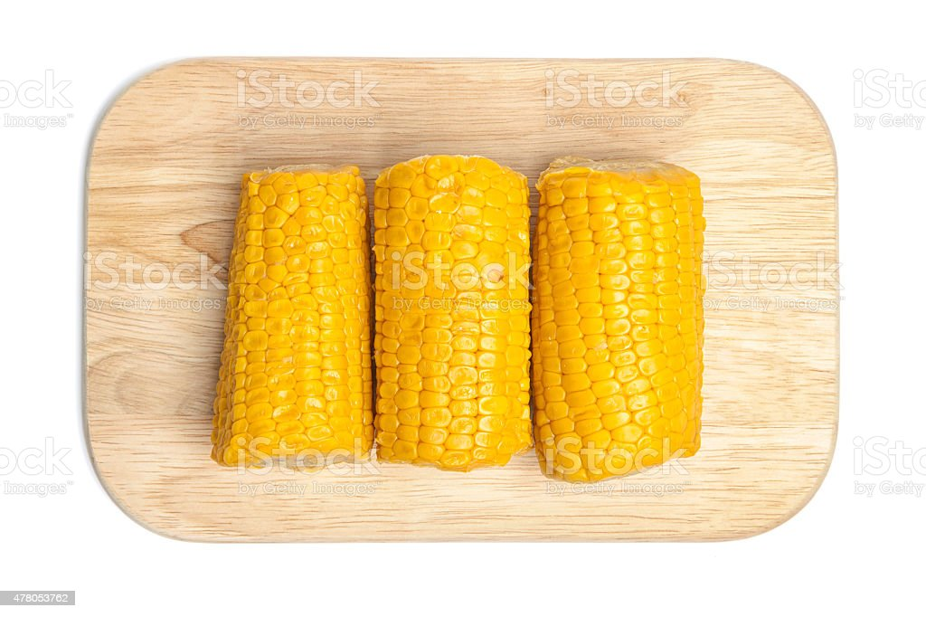 Barbecue, mais cobes on chopping board stock photo