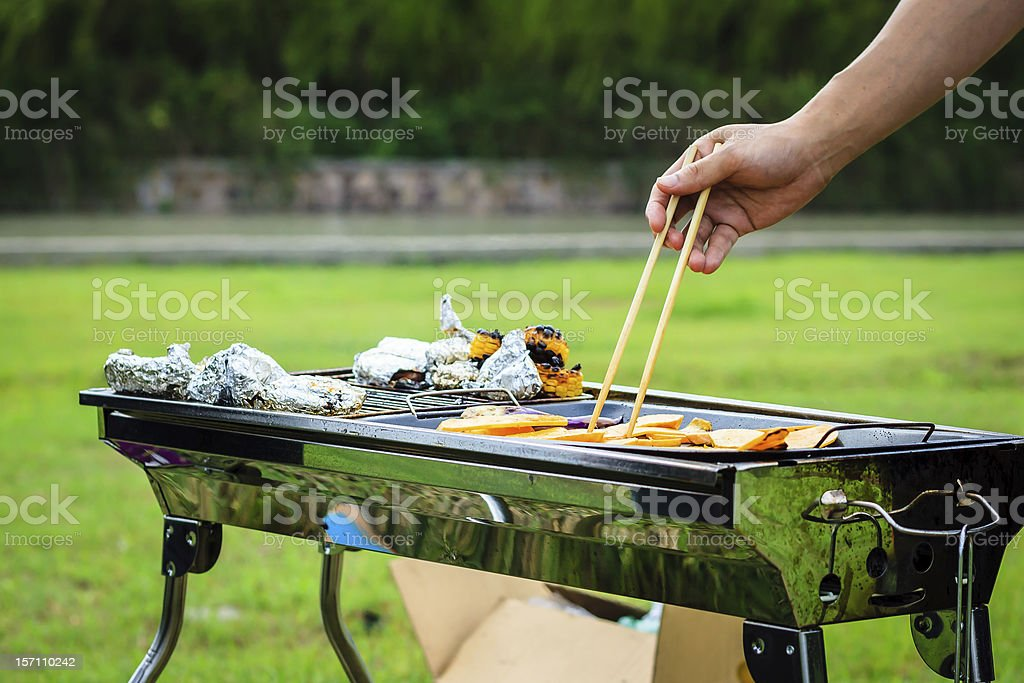 barbecue outside royalty-free stock photo
