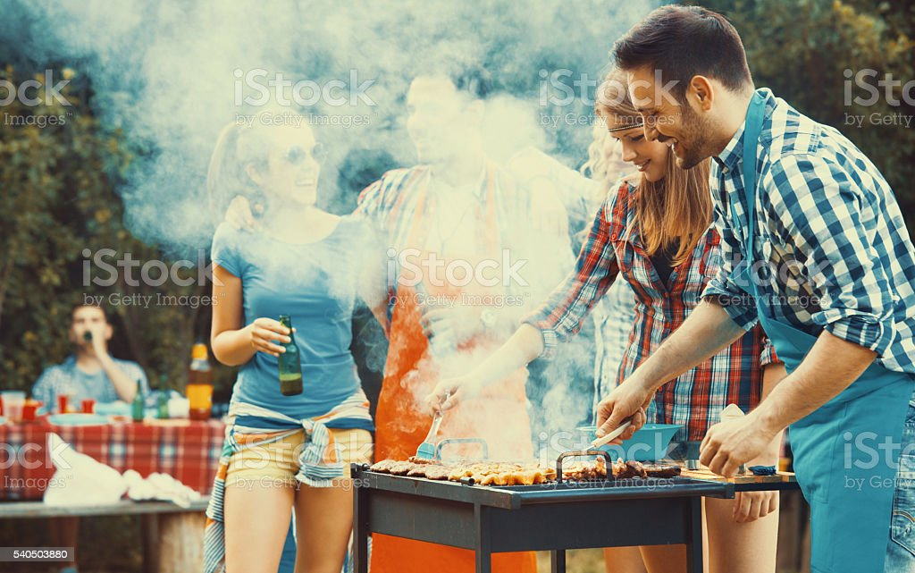 Barbecue party. stock photo