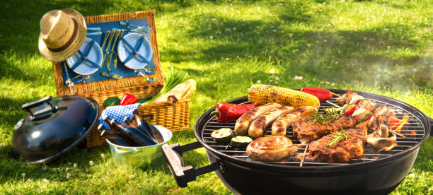 barbecue picnic - barbecue grill stock photos and pictures