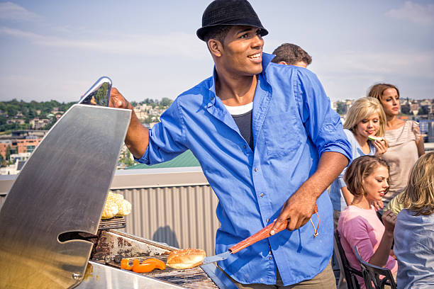 barbecue - young singles stock photos and pictures