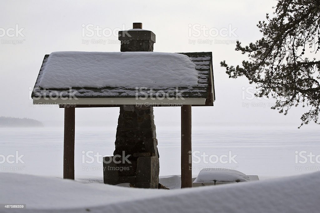Barbecue pit at Waskesui Lake in winter stock photo