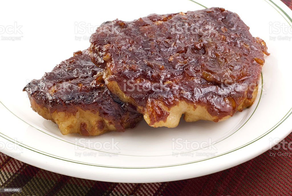 Barbecue Pork Loin Chops stock photo
