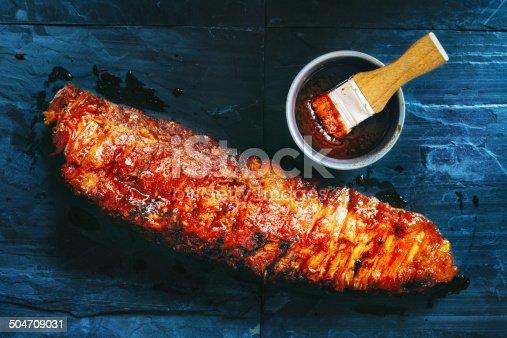 Barbecue pork ribs in marinade