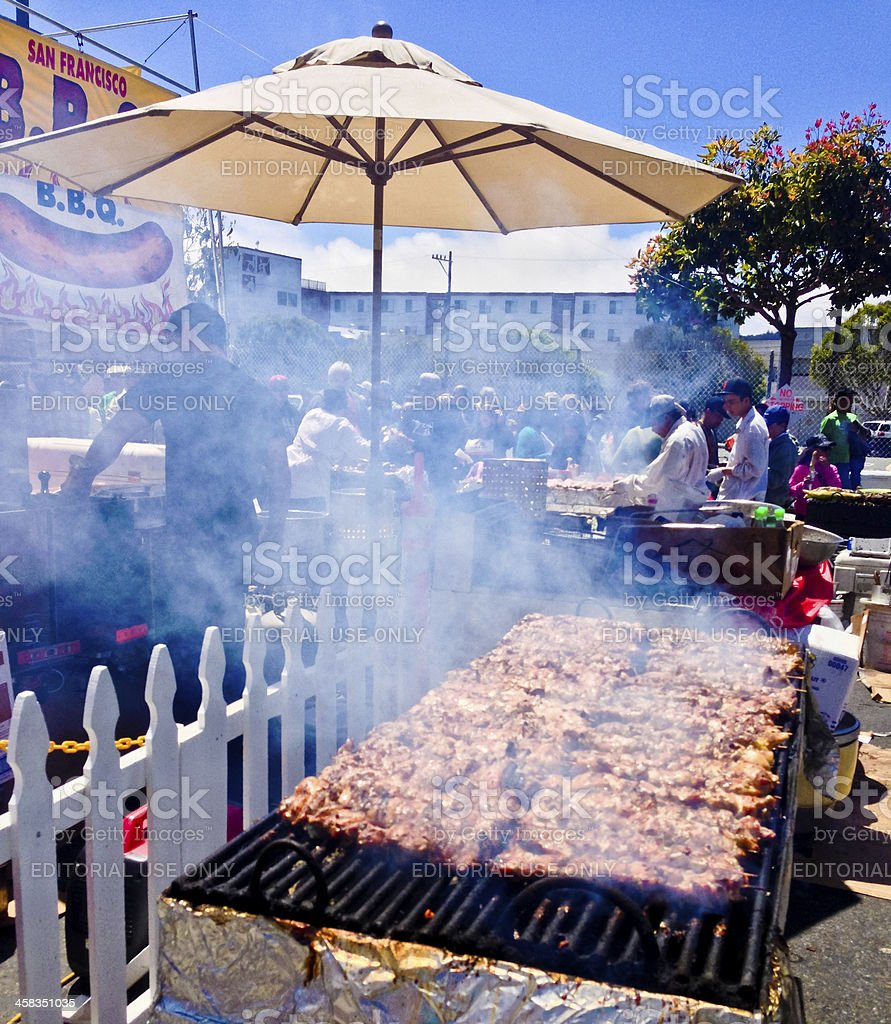 Barbecue prepared outdoors during street Festival, San Francisco royalty-free stock photo