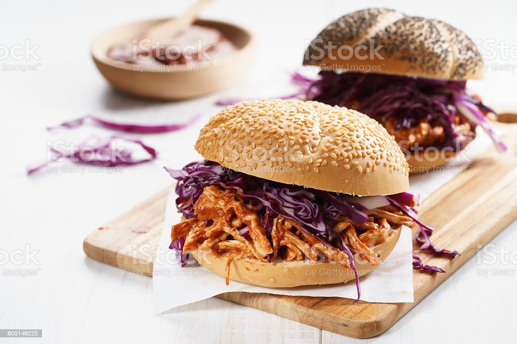 Barbecue Pulled Chicken Sandwich stock photo