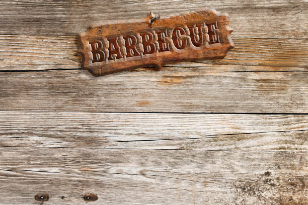 Barbecue Signboard On Wooden Wall Stock Photo Download Image Now Istock