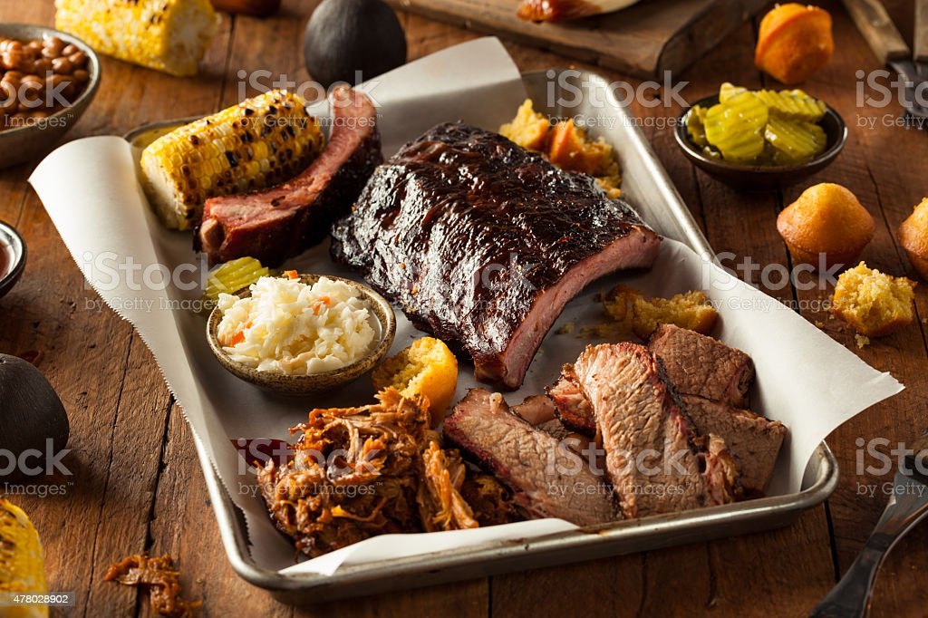 Barbecue Smoked Brisket and Ribs Platter stock photo