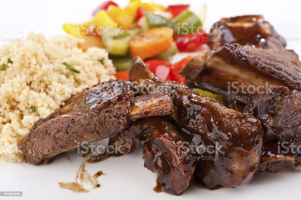 barbecue spare ribs on a plate royalty-free stock photo