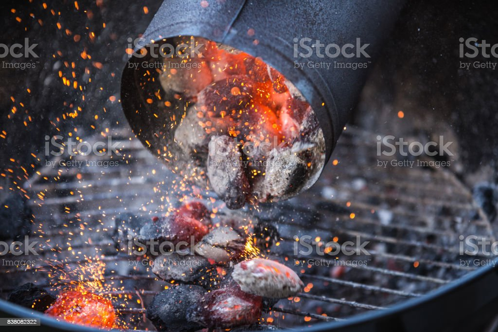 Barbecue with hot red charcoal stock photo