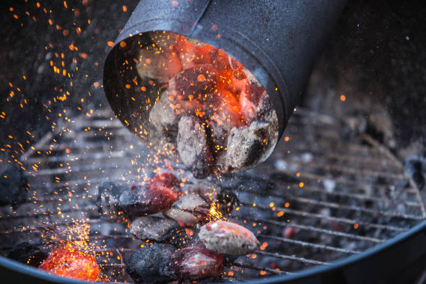 barbecue with hot red charcoal - grilled stock photos and pictures