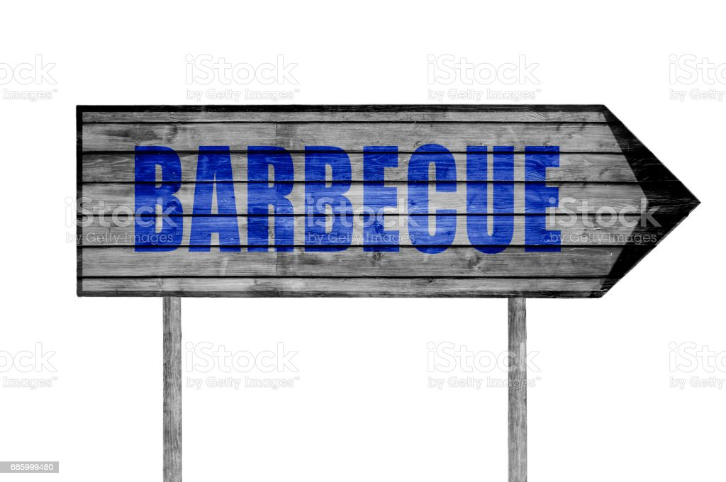 Barbecue wooden sign isolated on white stock photo