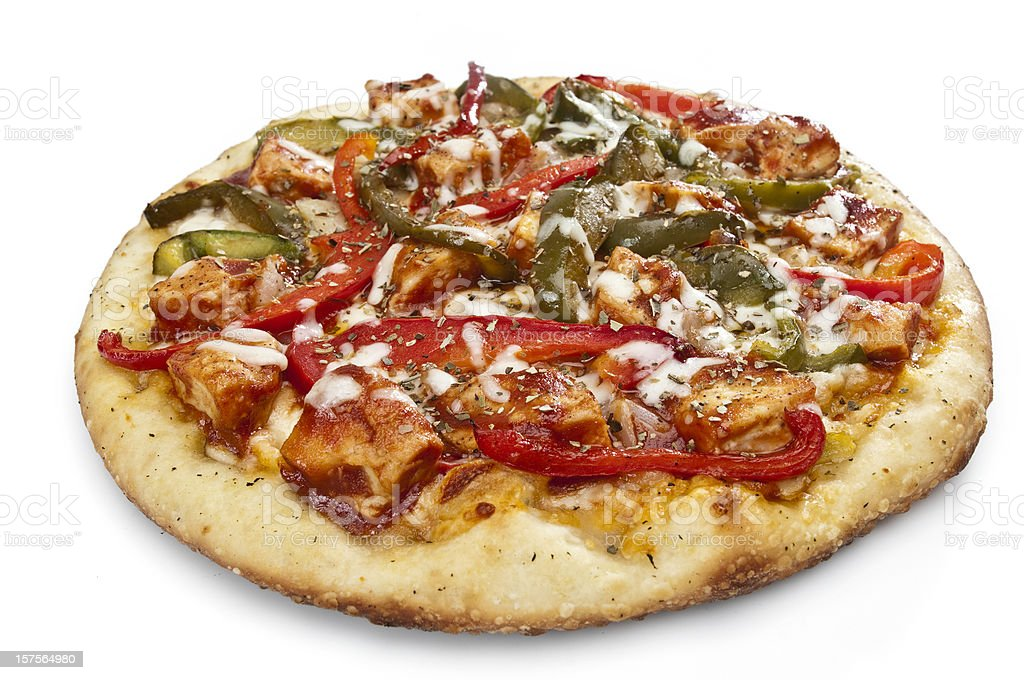 barbecued chicken with green and red peppers pizza stock photo