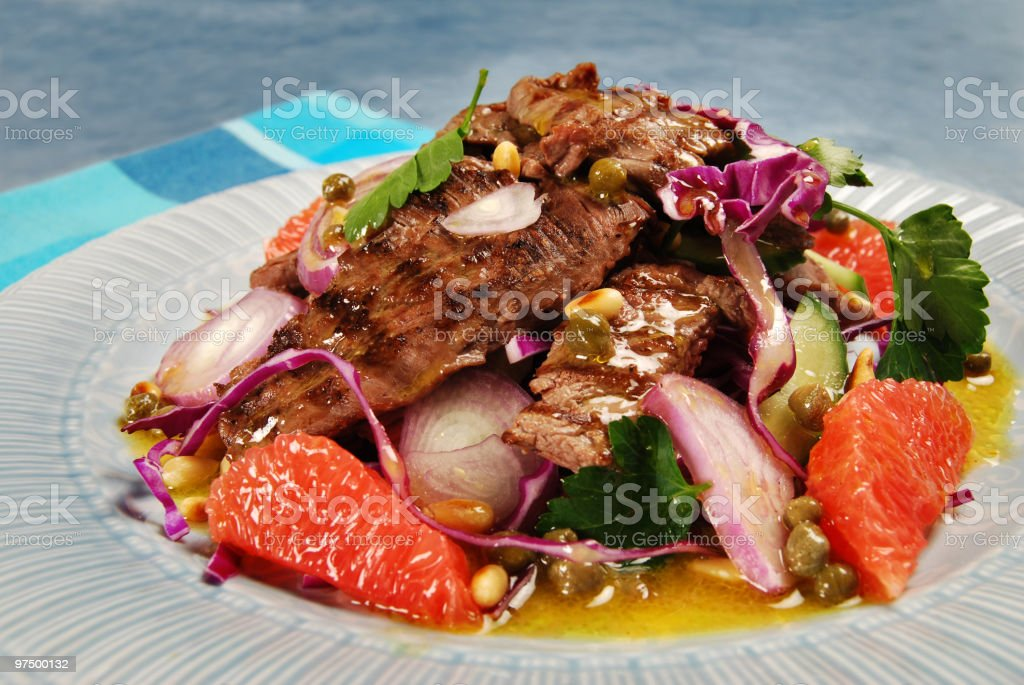 Barbecued steak salad royalty-free stock photo