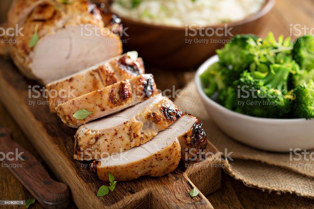 Barbecued turkey breast with honey mustard glaze stock photo