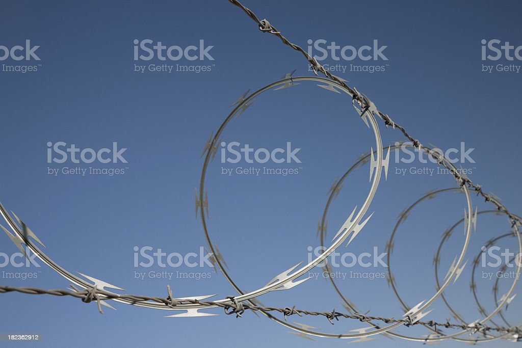 Barbed And Concertina Wire Security On Fence Stock Photo & More ...