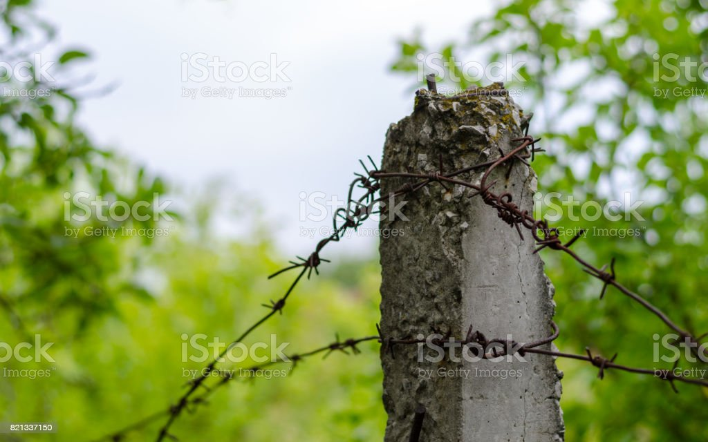 Barbed steel iron wire on a concrete column on the border of the prison stock photo
