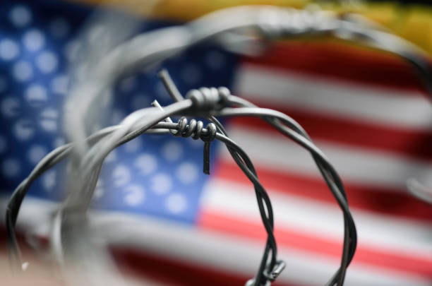 Barbed wire and United States of America flag , immigration stock photo. Barbed wire and United States of America flag , immigration  concept. deportation stock pictures, royalty-free photos & images
