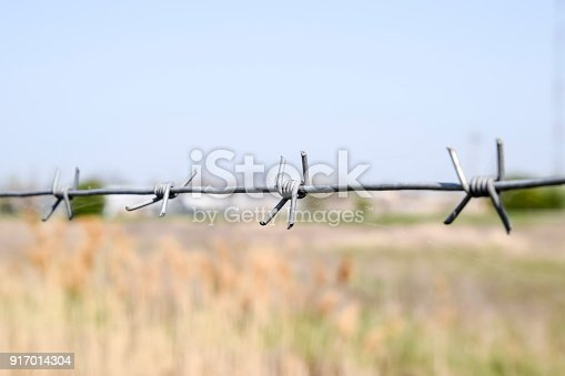 91708255 istock photo Barbed wire. Barbed wire fencing. The constraint symbol. 917014304