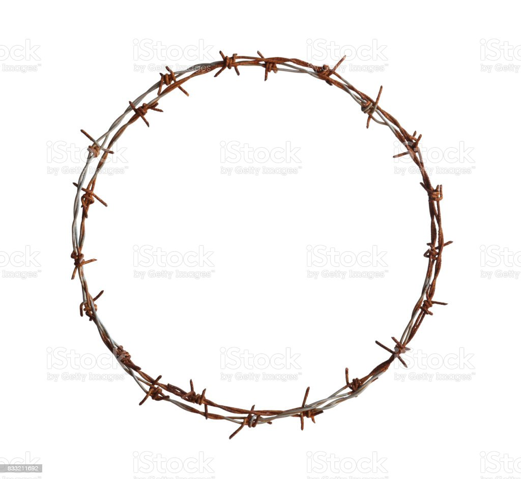 Barbed wire circle stock photo