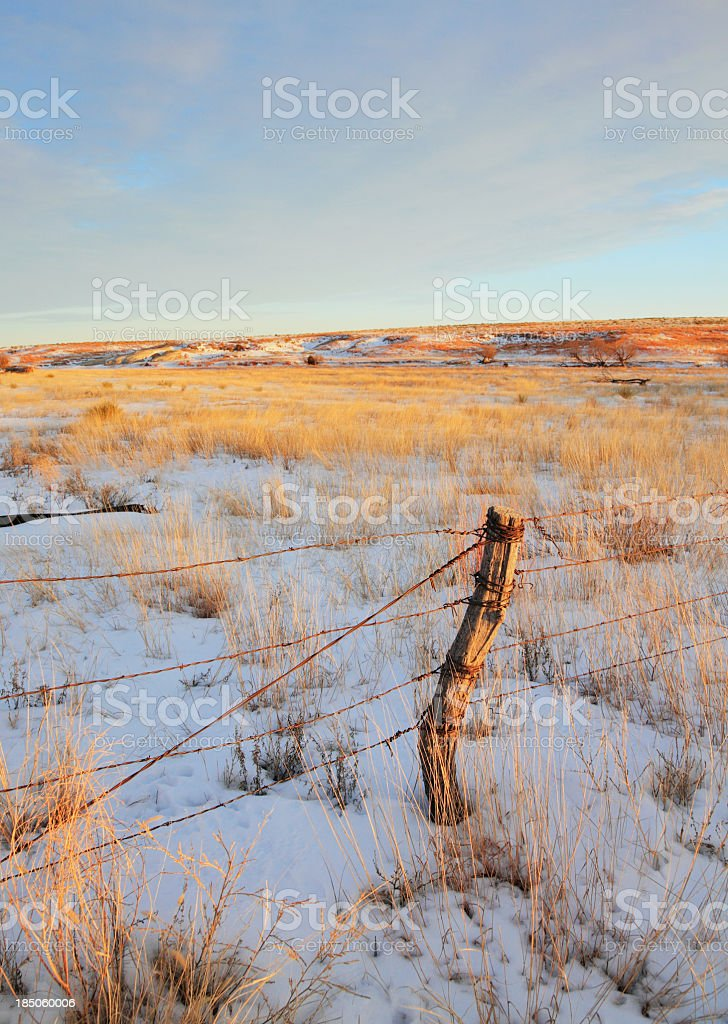 Barbed wire fence across the winter prairie stock photo
