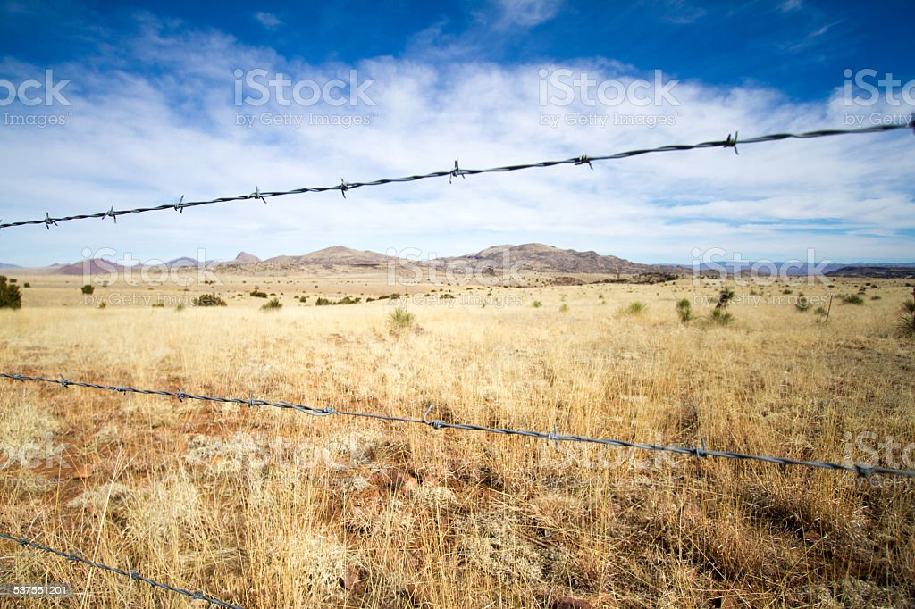 Southwest Wire | Barbed Wire Fence In Rural Southwest Us Stock Photo More Pictures