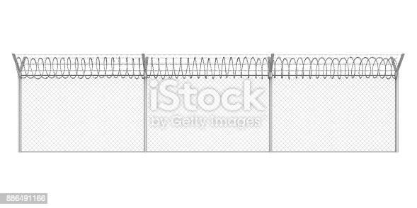 istock Barbed Wire Fence Isolated 886491166