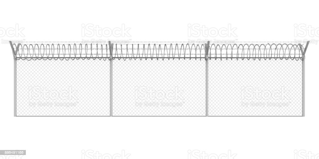 Barbed Wire Fence Isolated stock photo