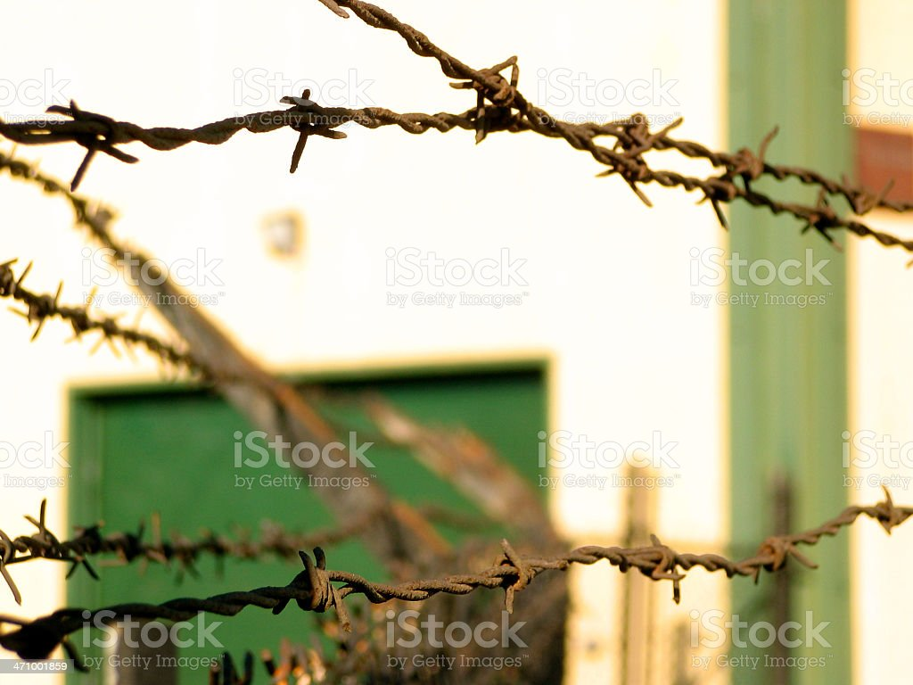 Barbed wire fence - Jail stock photo