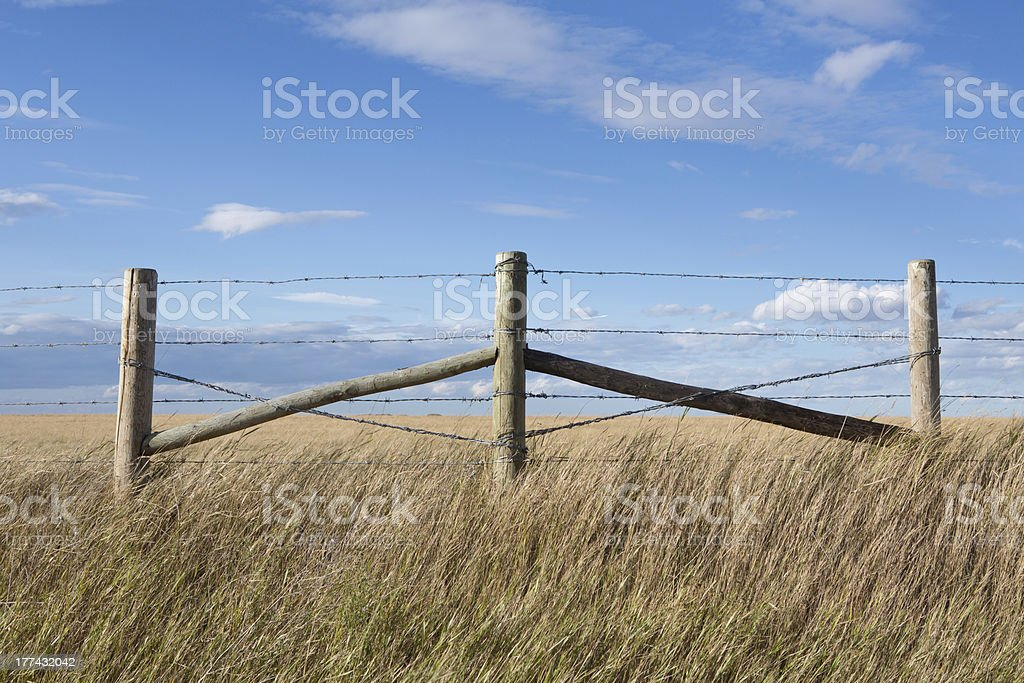 Barbed wire fence on prairie farm land stock photo
